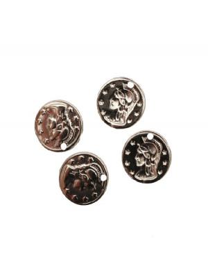 Ciondolo a forma di medaglia con soldato e stelle con 1 foro 15 mm.