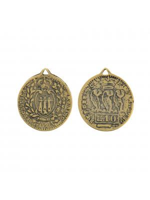 Ciondolo a forma di moneta della Repubblica di S. Marino, 24x28mm.