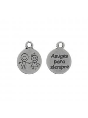 """Ciondolo a forma di medaglia, con scritto """"Amigos Para Siempre"""", 14x18 mm."""