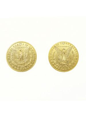 Ciondolo a medaglia con disegno di dollaro americano, 29 mm.