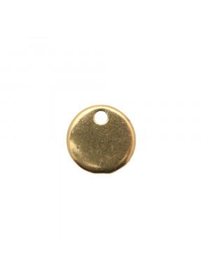 Ciondolo a forma di medaglia tonda liscia, diametro 10 mm.