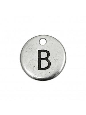 """Ciondolo a forma di medaglia tonda con lettera """"B"""", diametro 12 mm."""