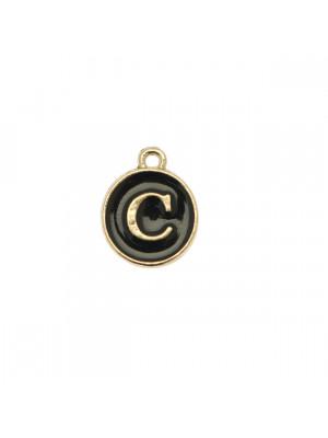 """Ciondolo a forma di medaglia tonda con lettera """"C"""", smaltata Nera, 12x14 mm."""