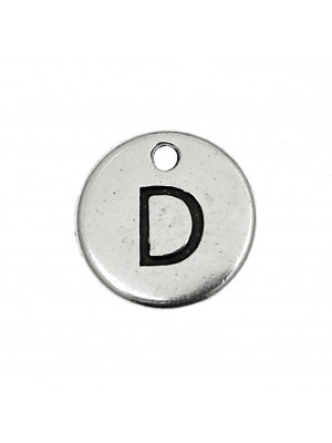 """Ciondolo a forma di medaglia tonda con lettera """"D"""", diametro 12 mm."""