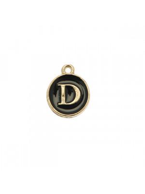 """Ciondolo a forma di medaglia tonda con lettera """"D"""", smaltata Nera, 12x14 mm."""