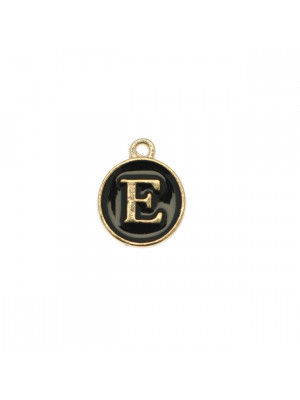 """Ciondolo a forma di medaglia tonda con lettera """"E"""", smaltata Nera, 12x14 mm."""