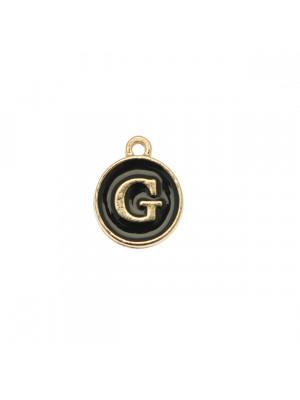 """Ciondolo a forma di medaglia tonda con lettera """"G"""", smaltata Nera, 12x14 mm."""