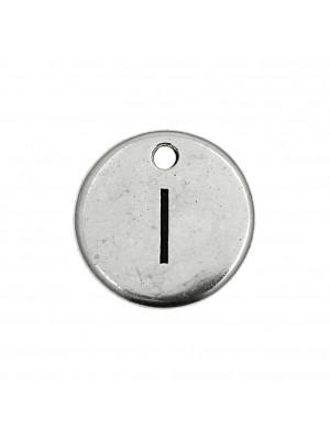 """Ciondolo a forma di medaglia tonda con lettera """"I"""", diametro 12 mm."""