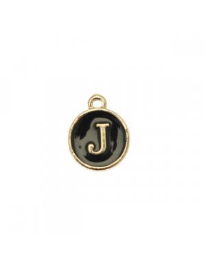 """Ciondolo a forma di medaglia tonda con lettera """"J"""", smaltata Nera, 12x14 mm."""