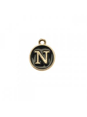 """Ciondolo a forma di medaglia tonda con lettera """"N"""", smaltata Nera, 12x14 mm."""
