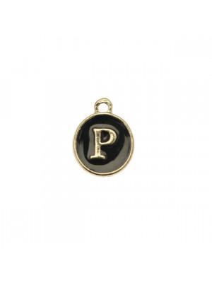 """Ciondolo a forma di medaglia tonda con lettera """"P"""", smaltata Nera, 12x14 mm."""