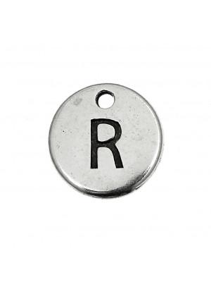 """Ciondolo a forma di medaglia tonda con lettera """"R"""", diametro 12 mm."""