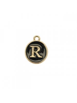 """Ciondolo a forma di medaglia tonda con lettera """"R"""", smaltata Nera, 12x14 mm."""