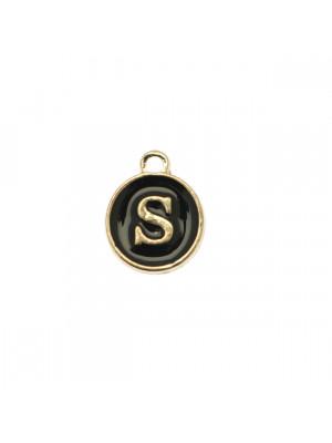 """Ciondolo a forma di medaglia tonda con lettera """"S"""", smaltata Nera, 12x14 mm."""