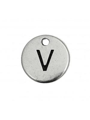 """Ciondolo a forma di medaglia tonda con lettera """"V"""", diametro 12 mm."""