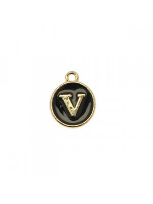 """Ciondolo a forma di medaglia tonda con lettera """"V"""", smaltata Nera, 12x14 mm."""