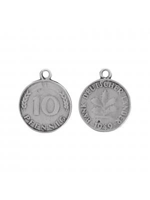Ciondolo a forma di moneta da 10 centesimi tedeschi, 20x24mm.
