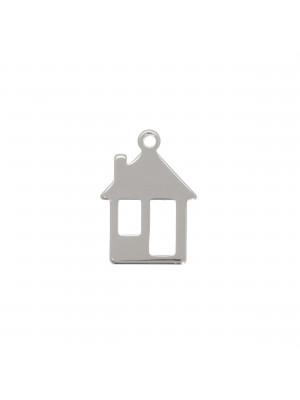 Ciondolo a forma di casa con finestre, 15x11mm., con un anellino tondo chiuso in alto
