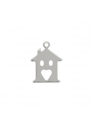 Ciondolo a forma di casa con porta a forma di cuore, lungo 15 mm., largo 12 mm.