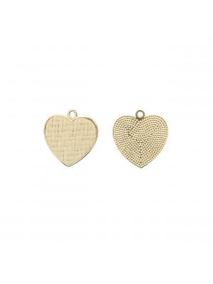 Ciondolo a forma di cuore, piatto, con rattan naturale, 25x26 mm.