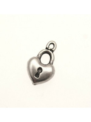 Ciondolo a forma di lucchetto a cuore cicciotto liscio 12x10 mm.