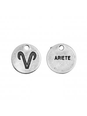 """Ciondolo segno zodiacale """"Ariete"""", colore Argento Anticato, diametro 12 mm."""