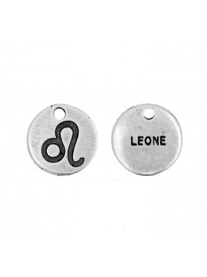 """Ciondolo segno zodiacale """"Leone"""", colore Argento Anticato, diametro 12 mm."""