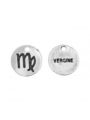 """Ciondolo segno zodiacale """"Vergine"""", colore Argento Anticato, diametro 12 mm."""