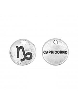 """Ciondolo segno zodiacale """"Capricorno"""", colore Argento Anticato, diametro 12 mm."""