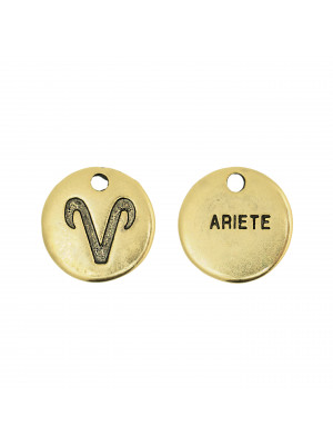 """Ciondolo segno zodiacale """"Ariete"""", colore Oro Anticato, diametro 12 mm."""