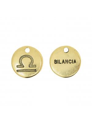 """Ciondolo segno zodiacale """"Bilancia"""", colore Oro Anticato, diametro 12 mm."""