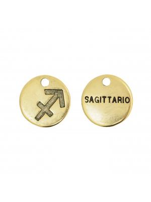 """Ciondolo segno zodiacale """"Sagittario"""", colore Oro Anticato, diametro 12 mm."""