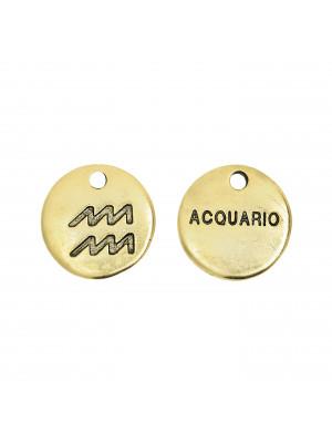 """Ciondolo segno zodiacale """"Acquario"""", colore Oro Anticato, diametro 12 mm."""