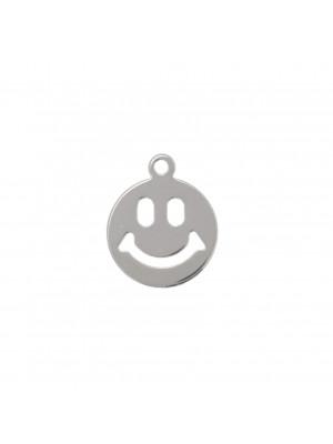 Ciondolo a forma di tondo con Smile, forato, lungo 9 mm., largo 8 mm.