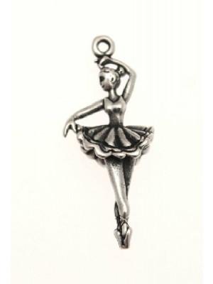 Ciondolo a forma di ballerina bombata grande 13x28 mm.