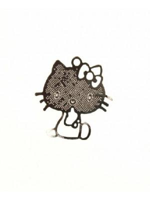 Ciondolo a forma di gattino sottilissimo con corpo traforato 15 mm.