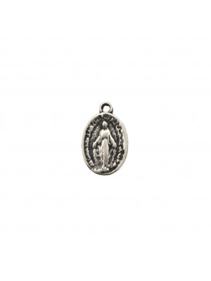 Ciondolo a forma di medaglia ovale con Madonna 10x17 mm.