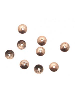 CONFEZIONE RISPARMIO - Coppetta tonda liscia sottile, diametro 6 mm., colore RAME ANTICATO