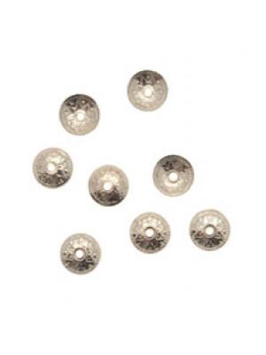 CONFEZIONE RISPARMIO - Coppetta tonda sottile lavorata a puntini, diametro 8 mm., colore ARGENTATO RODIO