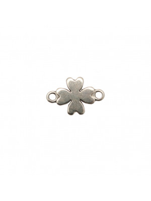 Distanziatore a forma di quadrifoglio, con due anelli, 10x15 mm.