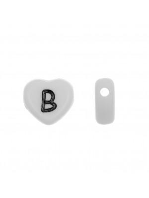 """Distanziatore a Cuore in resina con disegno lettera """"B"""", 12x11 mm."""