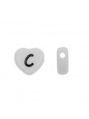 """Distanziatore a Cuore in resina con disegno lettera """"C"""", 12x11 mm."""