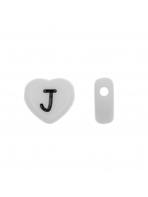 """Distanziatore a Cuore in resina con disegno lettera """"J"""", 12x11 mm."""