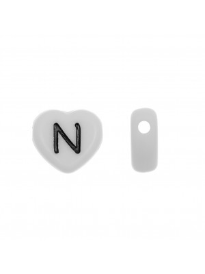"""Distanziatore a Cuore in resina con disegno lettera """"N"""", 12x11 mm."""