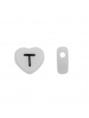"""Distanziatore a Cuore in resina con disegno lettera """"T"""", 12x11 mm."""