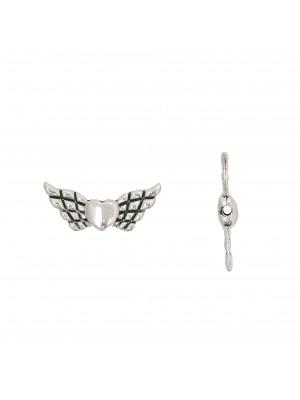 Distanziatore a forma di ali di angelo con cuore centrale, 9x20 mm.