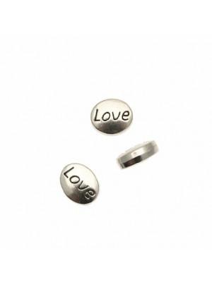 """Distanziatore ovale piatto liscio con scritta """"Love"""" su entrambi i lati,  12x10 mm."""