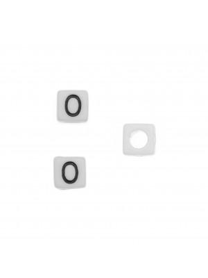"""Distanziatore quadrato in resina con disegno lettera """"O"""", 7 mm."""