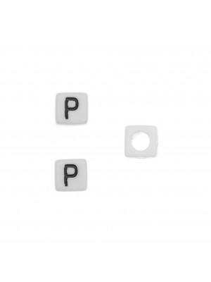 """Distanziatore quadrato in resina con disegno lettera """"P"""", 7 mm."""