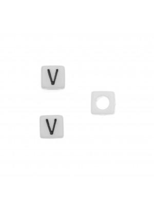 """Distanziatore quadrato in resina con disegno lettera """"V"""", 7 mm."""